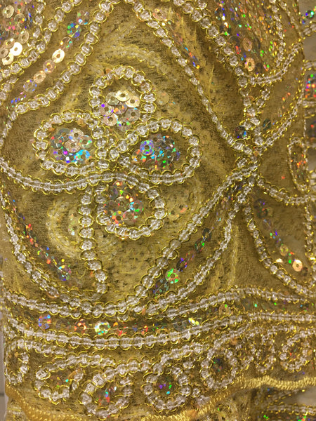 Honeycomb Tulle sequins Embroidery