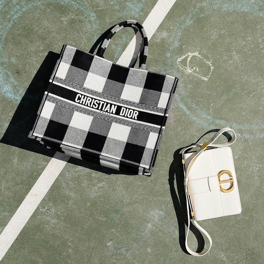 Dior Book Tote in Check White/Black