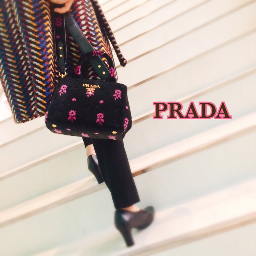 Prada Canapa Green and Fuschia Flowers Velvet Bag - Luxury Next Season