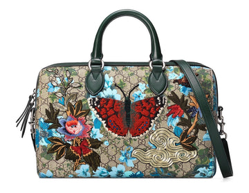 Gucci Linea A Butterfly Embroidered Boston Bag - Luxury Next Season