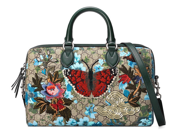 67569c069b9 Gucci Linea A Butterfly Embroidered Boston Bag