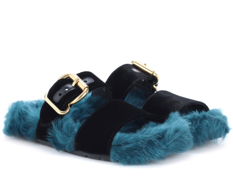 Prada Fur Velvet Sandals - Luxury Next Season