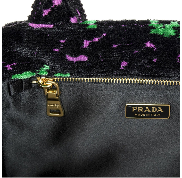 Prada Canapa Green And Fuschia Flowers Velvet Bag Luxury