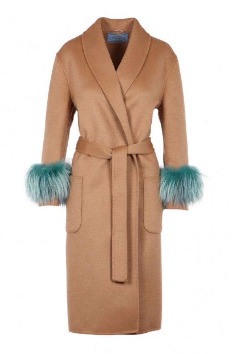 Prada Mink Fur Cuff Belted Wool Coat - Luxury Next Season