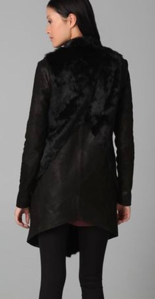 Helmut Lang Fur Leather Combo Coat
