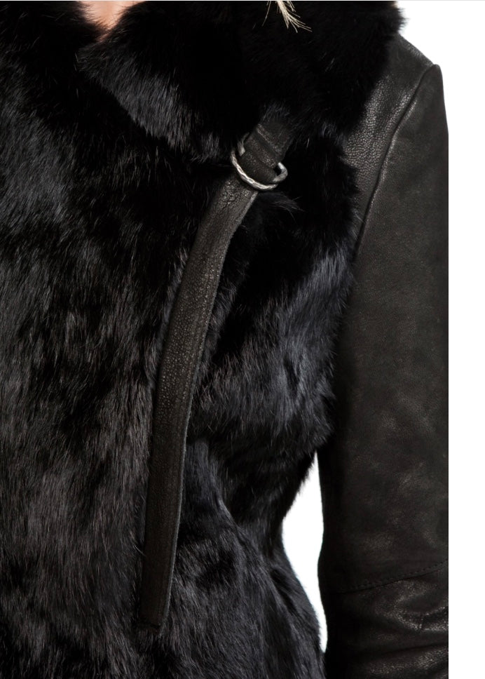 Helmut Lang Fur Leather Combo Coat - Luxury Next Season