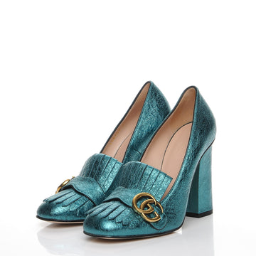 Gucci GG Metallic Teal Heels - Luxury Next Season