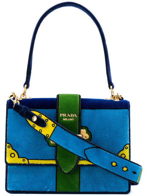 Prada Trompe L'oeil Cahier Velvet Shoulder Large Bag - Luxury Next Season