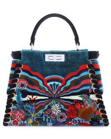 Fendi Embroidered Velvet Peekaboo Medium Bag