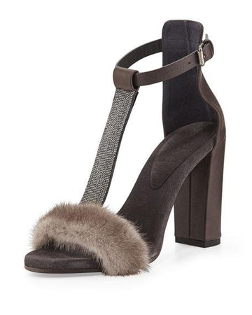 Brunello Cucinelli Fur Sandals - Luxury Next Season