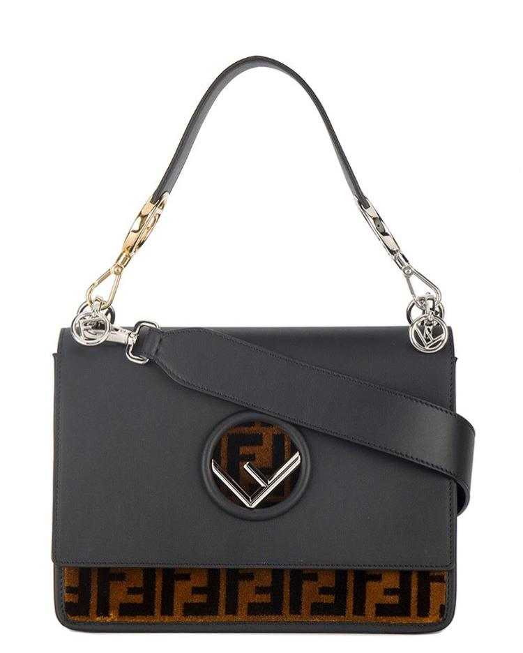 Fendi Kan I F Logo Velvet Bag - Luxury Next Season