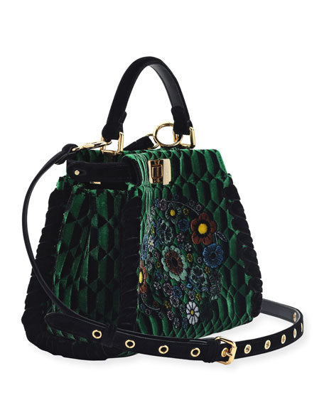 Fendi Floral Green Velvet Mini Peekaboo Bag