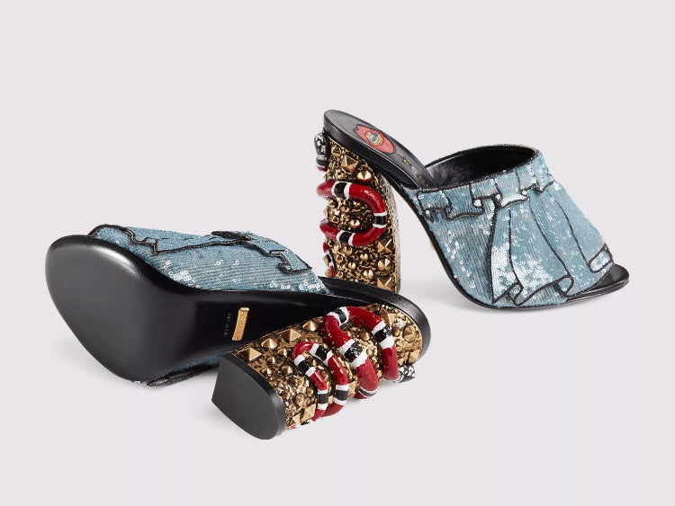 Gucci Owen Coral Sequin Sandals - Luxury Next Season