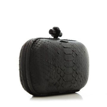 Bottega Veneta Knotted Long Black Python Clutch - Luxury Next Season