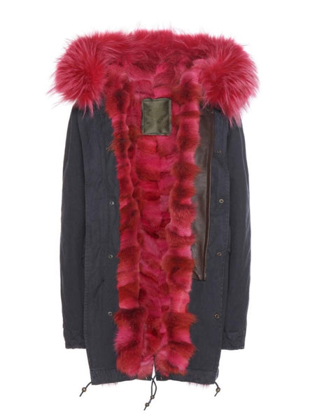 Mr and Mrs Italy Parka Coyote Hot Pink Midi Parka