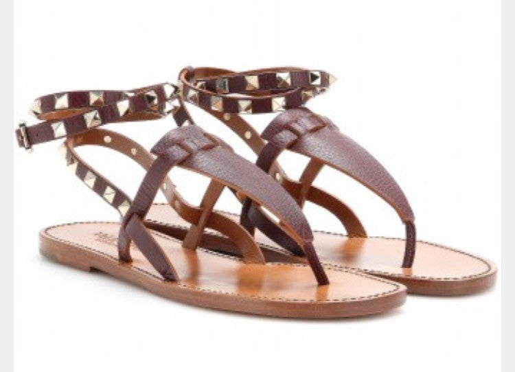 Valentino Studded Double Leather Sandals - Luxury Next Season