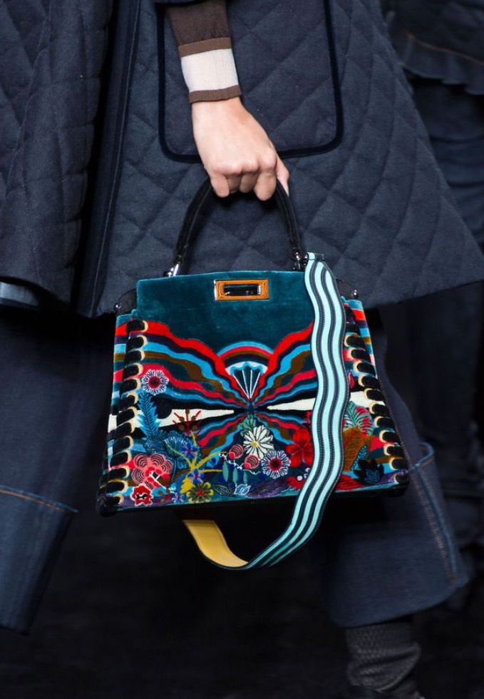 Fendi Embroidered Velvet Peekaboo Medium Bag - Luxury Next Season