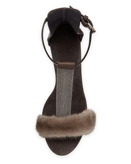 Brunello Cucinelli Fur Sandals