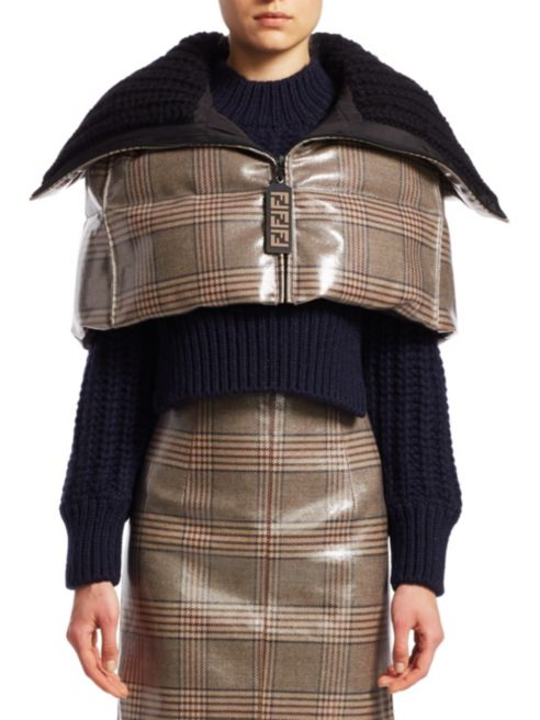 Fendi Plaid Puffer Caplet - Luxury Next Season