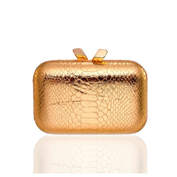 Kotur Ltd Italy Gold Snakeskin Knot Clutch - Luxury Next Season