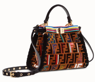 Fendi FF Zucca Velvet Whipstitch Mini Peekaboo - Luxury Next Season