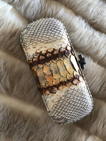 Bottega Veneta Knotted Long Gold Python Clutch - Luxury Next Season