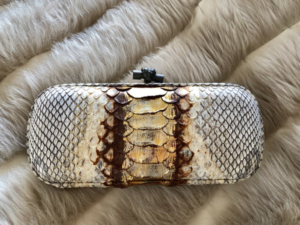 Bottega Veneta Knotted Long Gold Python Clutch