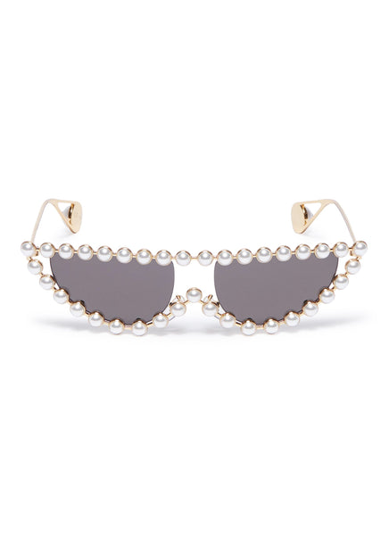 Gucci Pearl Frame Cat Eye Sunglasses