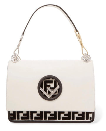 Fendi Flocked Black White Shoulder Bag - Luxury Next Season