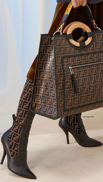 Fendi Runaway FF Embossed Century Shopper Tote