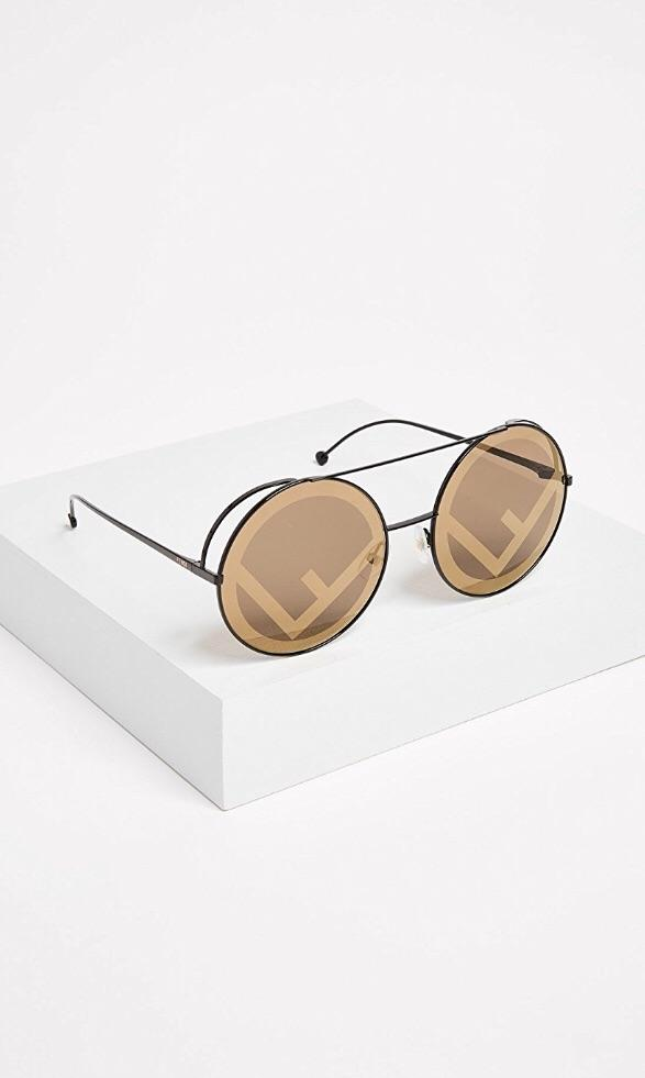 Fendi F Logo Round Sunglasses - Luxury Next Season
