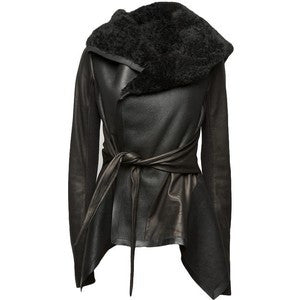 Rick Owens Black Shearling Leather Jacket
