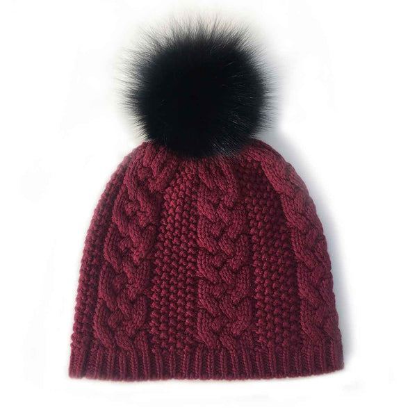Cable Knit Cashmere & Fur Hat