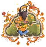 Happy Hippy playing guitar