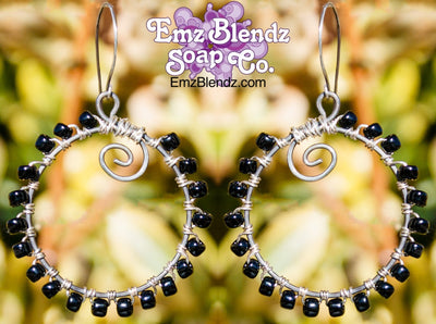 Black Sterling Silver Wrapped Hoop Earrings - Emz Blendz