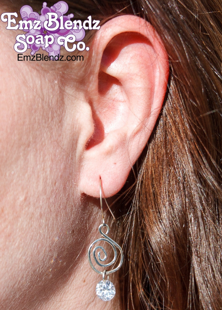 Earrings | Sterling Silver Swirl w/Crystal Drops, Clear - Emz Blendz