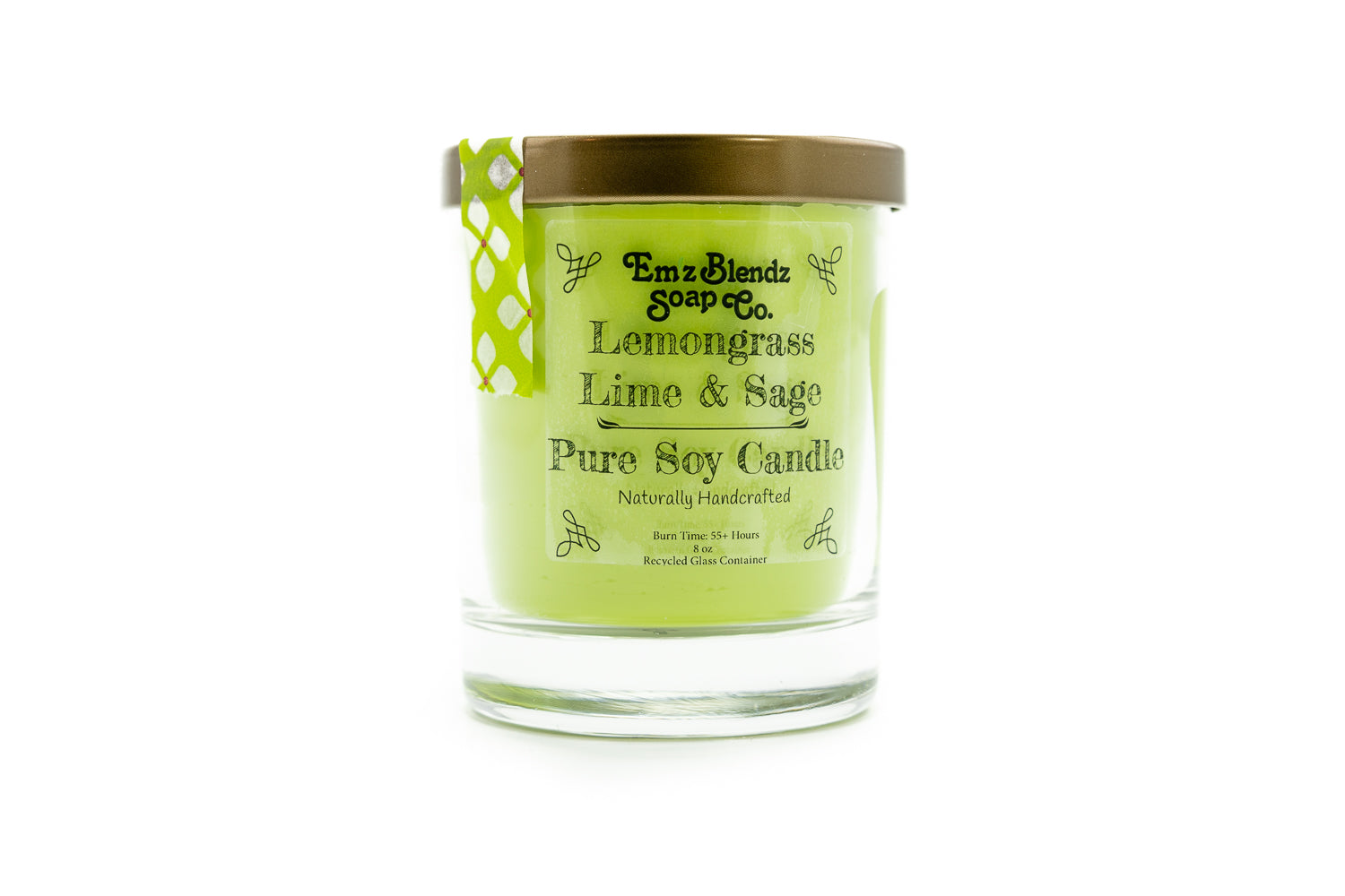 Lemongrass, Lime & Sage - 100% Natural Soy Wax, Glass 8 oz - Emz Blendz