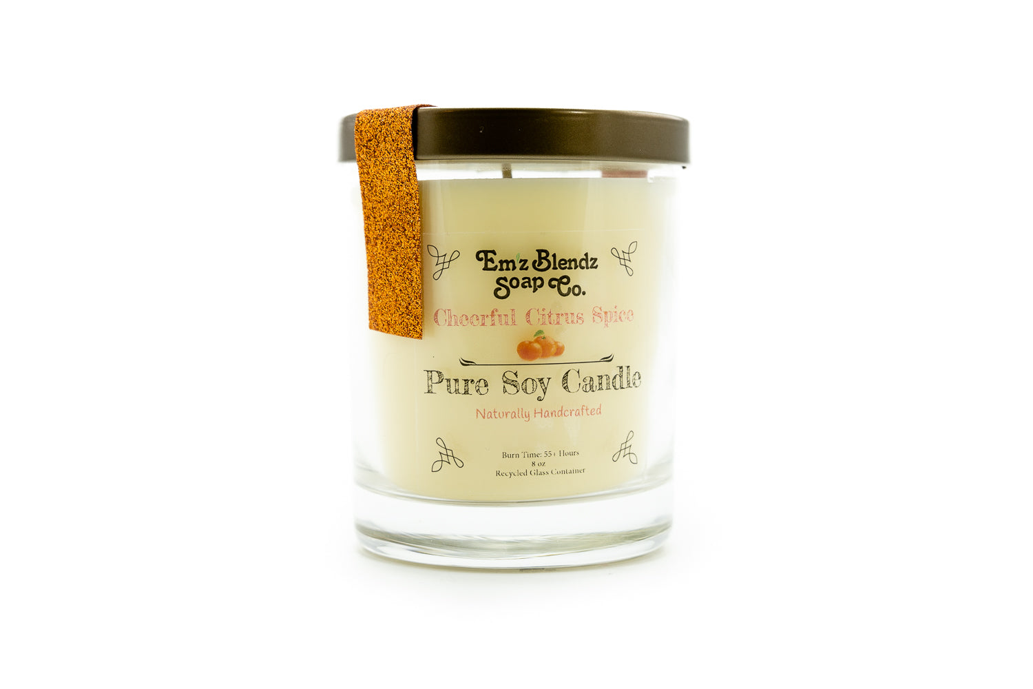 Cheerful Citrus Spice - 100% Natural Soy Wax, Glass 8 oz - Emz Blendz