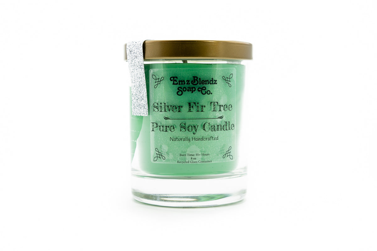 Silver Fir Tree - 100% Natural Soy Wax, Glass 8 oz - Emz Blendz