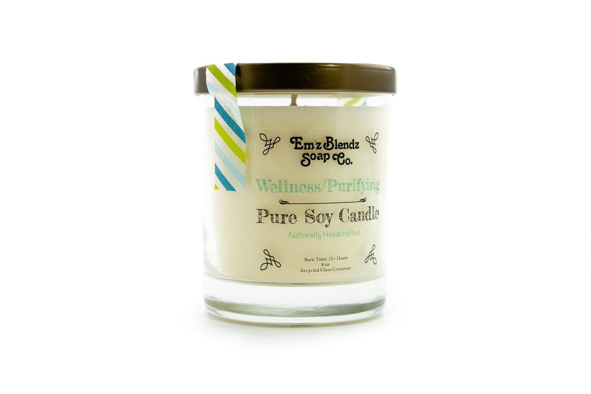 Wellness | Purifying - 100% Natural Soy Wax, Glass 8 oz - Emz Blendz