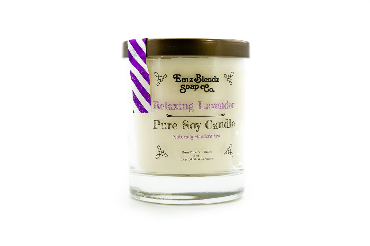 Relaxing Lavender - 100% Natural Soy Wax, Glass 8 oz