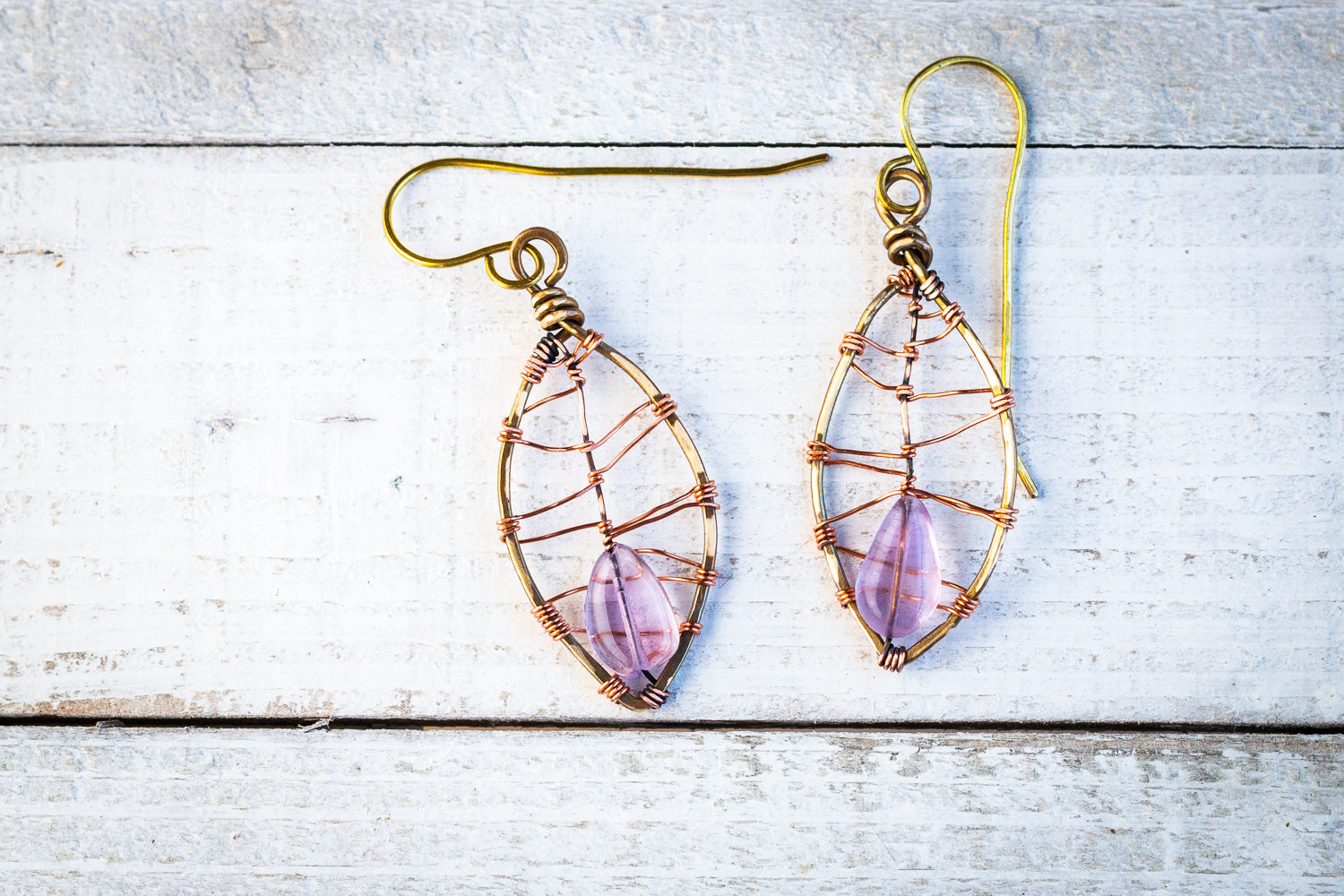Amethyst Leaf Earrings | Handcrafted with antiqued copper and brass - Emz Blendz