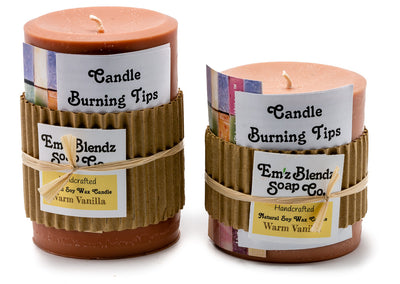 Warm Vanilla - 100% Pure Soy Wax Pillar Candle - Naturally Handmade - Emz Blendz