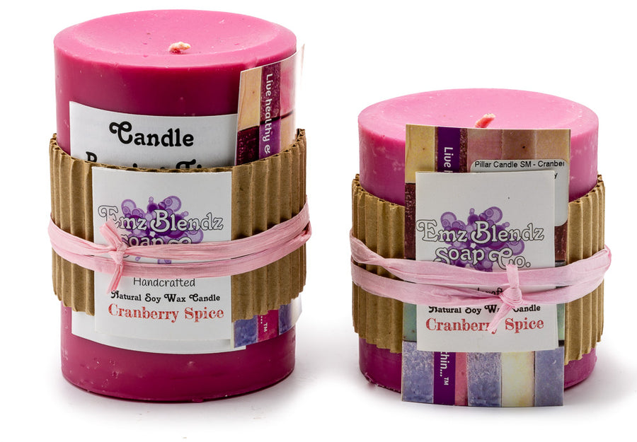 Cranberry Spice - 100% Pure Soy Wax Pillar Candle - Naturally Handcrafted - Emz Blendz