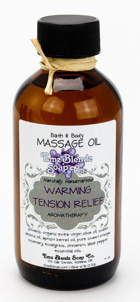 Aromatherapy Bath & Massage Oil | Warming Tension Relief - Emz Blendz