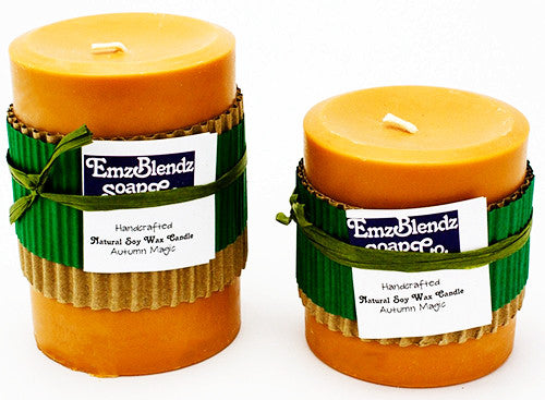 Autumn Magic - 100% Pure Soy Wax Pillar Candle - Naturally Handcrafted - Emz Blendz