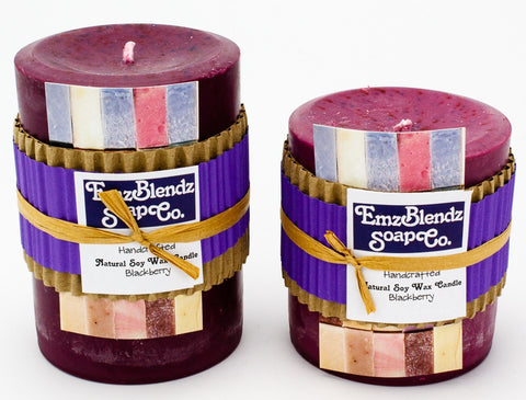 Blackberry - 100% Pure Soy Wax Pillar Candle - Naturally Handcrafted - Emz Blendz
