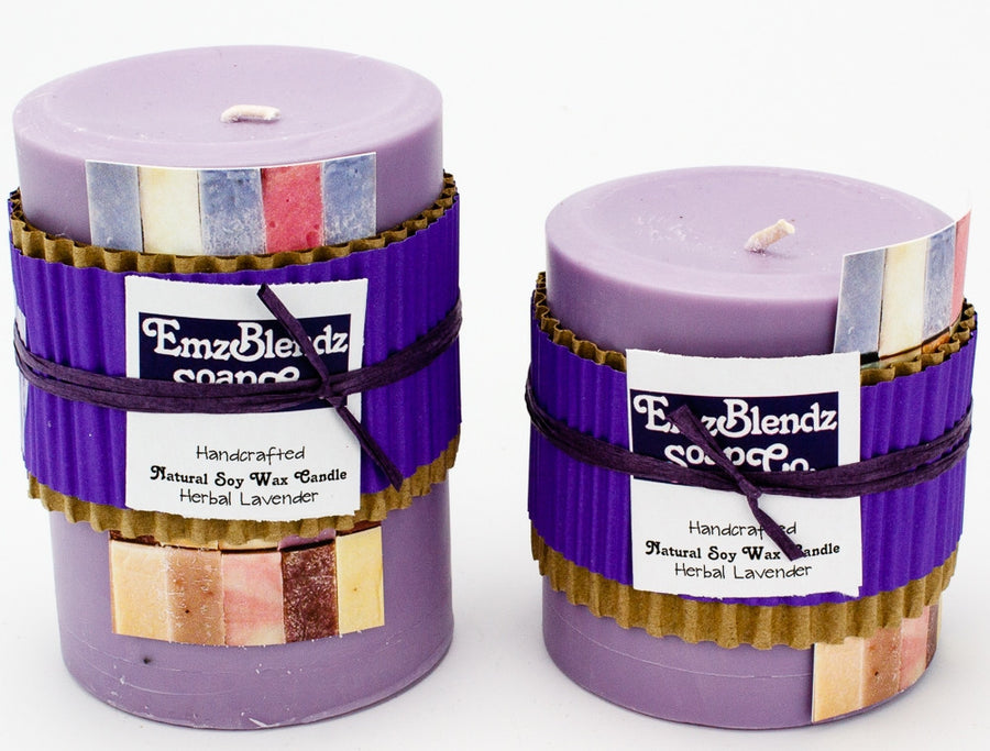 Herbal Lavender - 100% Pure Soy Wax Pillar Candle - Naturally Handcrafted - Emz Blendz