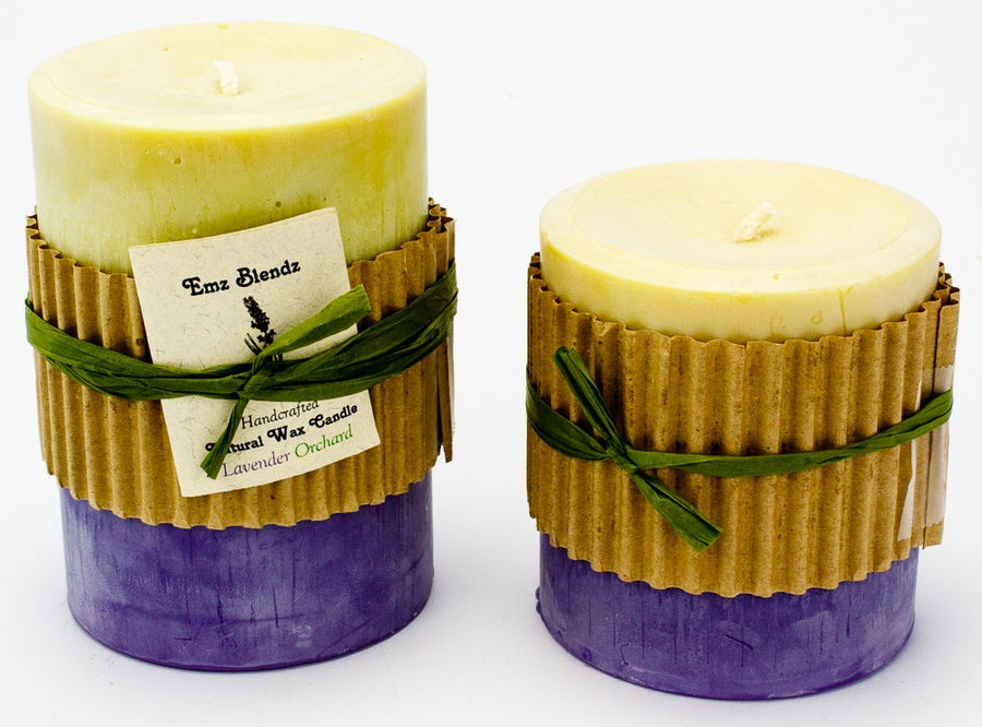 Lavender Orchard - 100% Pure Soy Wax Pillar Candle - Naturally Handcrafted - Emz Blendz