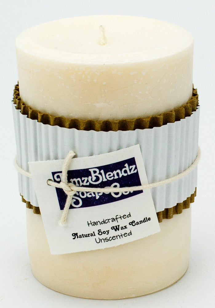 Unscented - 100% Pure Soy Wax Pillar Candle - Naturally Handcrafted - Emz Blendz